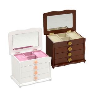 ジュエリーボックス MUD-6111WH/BR 薔薇のアクセントがカワイイ 化粧箱 アクセサリーボックス 1面鏡|next-life-style
