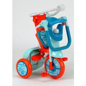 NEW ベネトン BENETTON カジキリ機能付簡単折畳み三輪車 YA-1319(オレンジ/ブルー) Oritrio Tricycle2|nextcycle