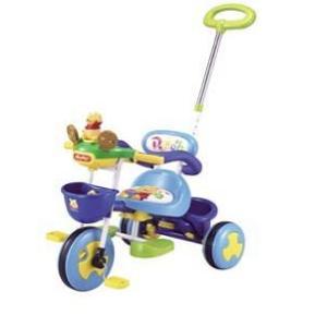 くまのプーさんかじとりトーク三輪車oneモデル ブルー カジキリ機能付舵取り機構付押し棒付三輪車  ides アイデス|nextcycle