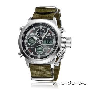 d9e5e39371 OHSEN 腕時計 メンズ LED アナデジ スポーツ アラーム 日付曜日 クロノグラフ 多機能ウォッチ-アーミーグリーン