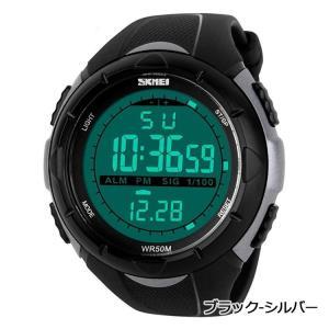 437f0542d96588 SKMEI メンズ カジュアル スポーツ デジタル LED表示 アラーム クロノグラフ 多機能 腕時計 ブラック グレー