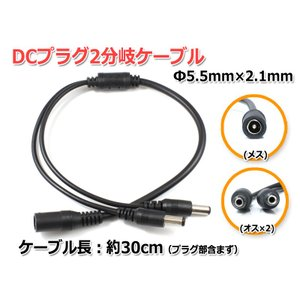 DCプラグ2分岐ケーブル[Φ5.5mm/2.1mm]30cm ACアダプター2分岐ケーブル|nfj