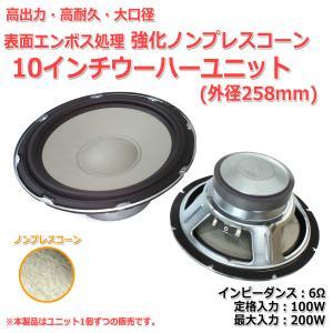 大口径 ウーハーユニット10インチ(外径258mm) 6Ω/MAX200W[スピーカー自作/DIYオーディオ]在庫極少 nfj