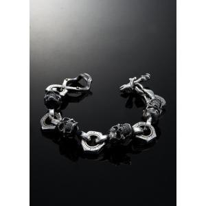 Let's Ride Movable Piston skull Bracelet XXL ムーバブル ピストン スカル ブレスレット|nfw