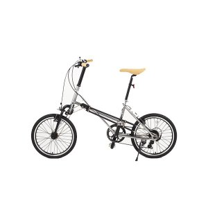 自転車 ミニベロ Mini Velo 2WD 両輪駆動 二輪駆動 【DOUBLE】  (20インチ)  silver 銀 ダブル 【関東配送無料】|nfw