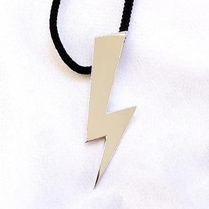 【稲妻の首飾り】 80cm ロングネックレス 絹紐 イナズマ lightning 和もの メンズ ネックレス ペンダント|nfw