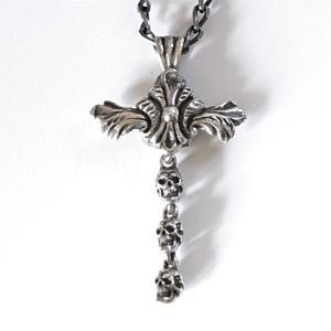[Monument] モニュメント スカル ペンダント クロス 十字架 アラベスク ネックレス シルバー メンズ 揺れる |nfw