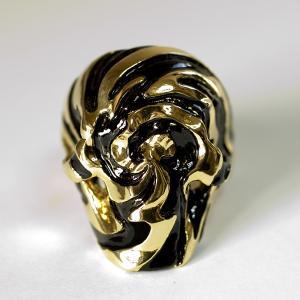 指輪 スカルリング [Ying Yang 【K18Gold】] 18金 ゴールド仕様 漆 うるし JAPAN スカル 高級|nfw