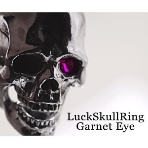 指輪 スカルリング Luck Skull Ring ラック スカル リング ガーネット トパーズ |nfw