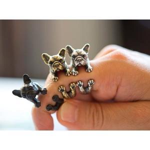 リング フレンチブルドッグ 犬 フレブル Cリング C型リング フォークリング アニマルリング ファランジリング ユニセックス 雑貨 グッズ 本物|nfw