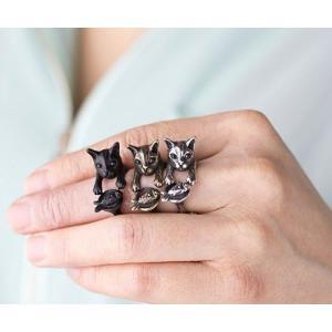 リング ネコと魚 猫 Cリング C型リング  フォークリング アニマルリング ファランジリング ユニセックス グッズ 雑貨|nfw