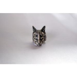 リング 4つ目 ネコ 猫 シルバー925仕様アニマルリング 銀 SV925|nfw