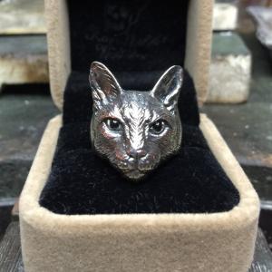 リング ネコ シルバー925仕様アニマルリング 猫 銀 SV925|nfw
