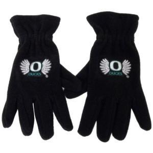 NCAA オレゴンダックス メンズ フリース手袋 「翼とO」 ブラック|ngo-worksstore