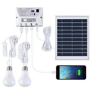 改良版 suaoki ソーラーシステム ソーラーパネルセット USB出力4ポート LED電球2個付属 ポータブル スマホなどへの充電 屋外照明 テント|ngo-worksstore