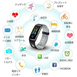 Openuye 活動量計 スマートブレスレット Bluetooth搭載 腕時計型 心拍計 歩数計 ウェアラブル スマートウォッチ 電話 Line SM|ngo-worksstore