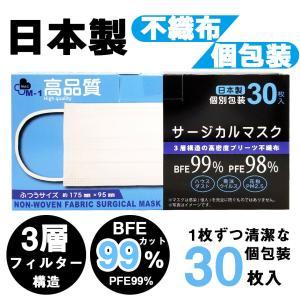 【送料無料】日本製 国産 マスク 白 White 不織布 個包装 30枚入 普通サイズ 男性 女性 大人 箱 サージカルマスク 使い捨て ngreen