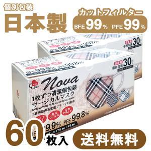 【送料無料】2箱セット 日本製 国産 マスク 不織布 個包装 30枚入 普通サイズ 男性 女性 大人 箱 サージカルマスク 使い捨て チェック柄 お洒落 ngreen