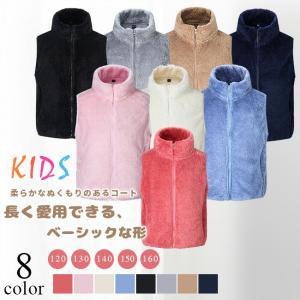 ベスト 子供用 ボアフリース キッズ ジャケット 暖かい 冬服 コート ポケット付き トップス スタンド 無地 アウター ふわふわ 大きいサイズ|ngytomato