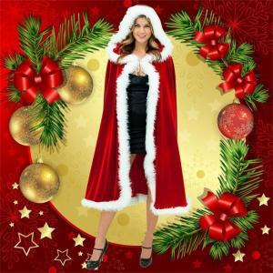 マント クリスマス コスプレ コスチューム レディース サンタ フード付き Christmas サンタ服 仮装 大人用 女性用 女王 レッド 白いファー ハロウイン|ngytomato