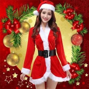 クリスマス コスプレ ワンピース コスチューム レディース サンタ Christmas ドレス 仮装 ショート丈 女性用 女王 レッド ふわふわ セックス 長袖 帽子|ngytomato