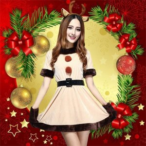 クリスマス コスプレ ワンピース コスチューム レディース トナカイ Christmas ドレス 仮装 ショート丈 女性用 ふわふわ 長袖 帽子 前ボンボン カチューシャ|ngytomato