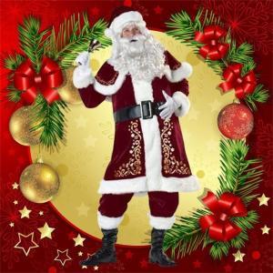 クリスマス コスプレ サンタ コスチューム メンズ Christmas 仮装 男の子 成人用 レッド ふわふわ 7点セット かわいい ハロウイン パーティー|ngytomato