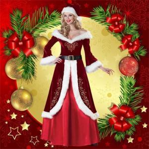 クリスマス コスプレ ワンピース コスチューム レディース サンタ Christmas ドレス 仮装 ロング丈 女性用 女王 レッド ふわふわ セックス 長袖 帽子|ngytomato