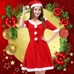 ワンピース クリスマス コスプレ コスチューム レディース サンタ Christmas ドレス 仮装 ショート丈 女性用 レッド ふわふわ 前ボンボン スカート 半袖|ngytomato
