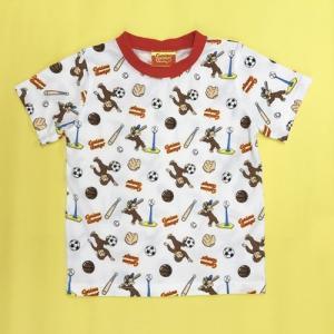 おさるのジョージ Tシャツスポーツ総柄 100 OW|nhkgoods