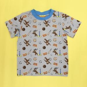 おさるのジョージ Tシャツスポーツ総柄 80 GY|nhkgoods