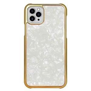 iPhone12Pro Max iPhoneケース ハードケース [シェル/薄型/ゴールドフレーム] ホワイト ホログラム スマホケース 携|ni-store