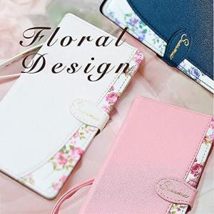 iPhone12 iPhone12Pro ケース 手帳型 ローズ 薔薇 ネイビー ストラップ付 カード アイフォン12 スマホケース カバー|ni-store