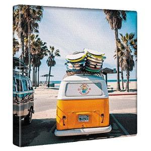サーフ 車 アートパネル 30cm × 30cm 日本製 ポスター おしゃれ インテリア 模様替え リビング 内装 空 自然 風景 ファブリ ni-store