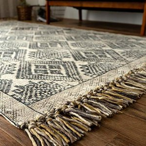 サヤンサヤン キリム柄 手織り ラグ カーペット ジェミニ 200x250 3畳 ブラック インド綿 ni-store