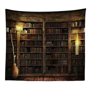 タペストリー壁飾り 本棚柄 おしゃれインテリア雑貨 ヴィンテージ風タペストリー 壁掛け 書棚柄間仕切りカーテン 図書館写真 撮影背景布 喫茶 ni-store