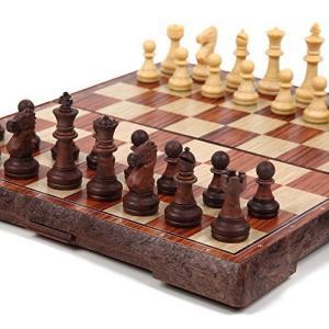 チェス マグネット 木製風 アンティーク ボードを折りたたむと収納可能 【日本語説明書付き】 (Mサイズ)|ni-store