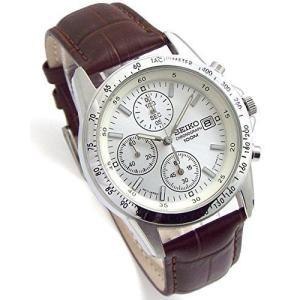 SEIKO クロノグラフ 腕時計 本革ベルトセット 国内セイコー正規流通品 ホワイト ディープブラウン SND363P1-DB [並行輸入品|ni-store