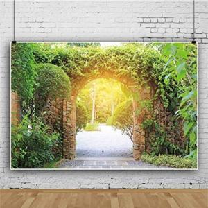 Qinunipoto 写真撮影用 背景布 撮影用 緑の植物 石のアーチの背景 人物撮影 背景 布 写真 ?影 子供の写真 バルーンの背景 室|ni-store