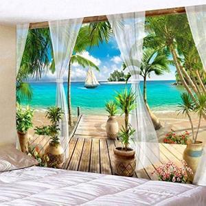 AHXYロマンチックな島タペストリー,唯美的景観壁タペストリー,多機能壁掛けアートタペストリー壁飾り寝室居間マンション新居装飾プレゼント用 ni-store