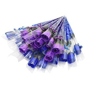 ソープフラワー ギフトフラワー 薔薇 花束 一輪 やさしい香り お祝い お返し プチギフト (青×紫 24本)|ni-store