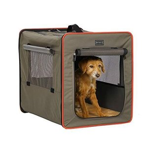 Petsfit 折りたたみ 犬用ソフトクレート ペットハウス 猫 ポータブルケージ 持ち手付き グレー/ブラウン|ni-store