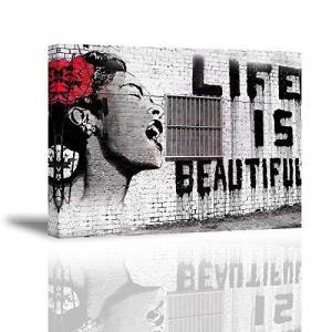 PIY PAINTING バンクシー 人生は素晴らしい ポスター バンクシー アートパネル アートフレーム モダン ポスター バンクシー フ|ni-store