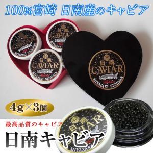ギフトに人気 日南キャビア 4g×3個ハート型黒 小分けだから便利 100%宮崎県日南産 無添加で濃厚な国産キャビア 大切な方へのプレゼントに喜ばれます|nichinan-tv