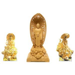 来迎 勢至菩薩 木地仕立 総高20cm(阿弥陀如来 特別仕立 5.5寸用) 中国工芸美術大師 人間国宝仏師製作 |nichirin