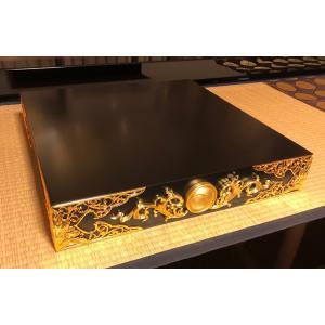 限定3台 飾り台 日月紋木製金箔彫刻 飾金具仕立|nichirin
