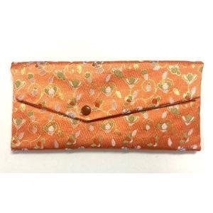 念珠袋 珠数袋 伝統和柄 小花唐草 橙色 西陣織高級金襴 京都職人仕立 メール便対応|nichirin