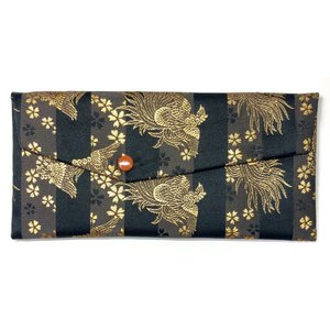 念珠袋 珠数袋 伝統和柄 鳳凰金色に桜 地モノトーンストライプ 西陣織高級金襴 京都職人仕立 メール便対応|nichirin