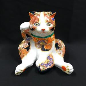 九谷焼 招き猫 スコティッシュフォールド小 赤盛ブチ nichirin