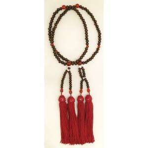 数珠 ビンロー珠 8寸(女性向)瑪瑙仕立 正絹頭房 紙箱入|nichirin
